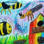 """22.04.2018 / """"Пчела, оса, шмель"""" в Творческой студии. Автор работы: Упорова Алиса (8 лет)"""