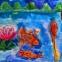 """28.04.2018 / """"Рыбки в речке"""" в Творческой студии. Автор работы: Туманова Алёна (7 лет)"""