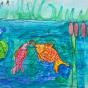 """29.04.2018 / """"Рыбки в речке"""" в Творческой студии. Автор работы: Упорова Алиса (8 лет)"""
